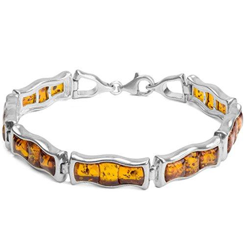 Miel Ambre Argent Sterling trois Bracelet en pierre 18,5cm