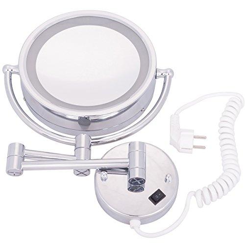 DXP LED Beleuchtet Kosmetikspiegel Normal+3 fach Schminkspiegel Zweiseitig Wandspiegel ROHS YBL9100