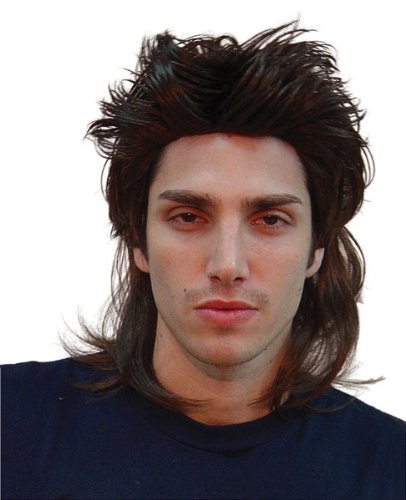 80's Black Mens Mullet Wig (1980 Fancy Dress Outfits)