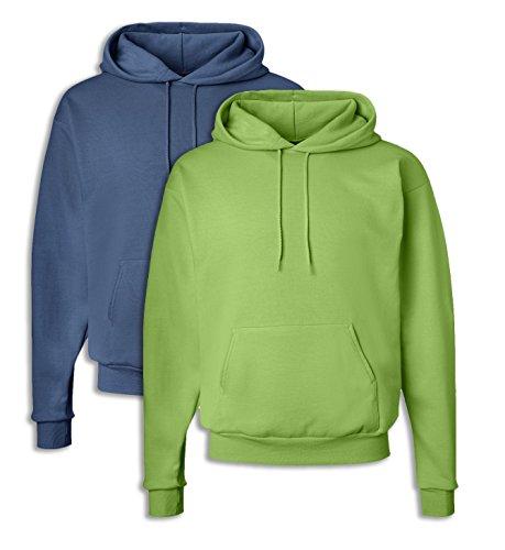 Hanes P170 Mens EcoSmart Hooded Sweatshirt Large 1 Denim Blue + 1 Lime