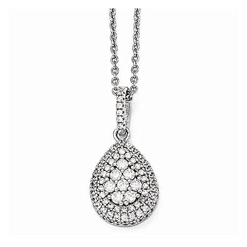 Diamond Teardrop Pendant Chain - PriceRock Sterling Silver & CZ Brilliant Embers Teardrop Necklace 18 Inches Long