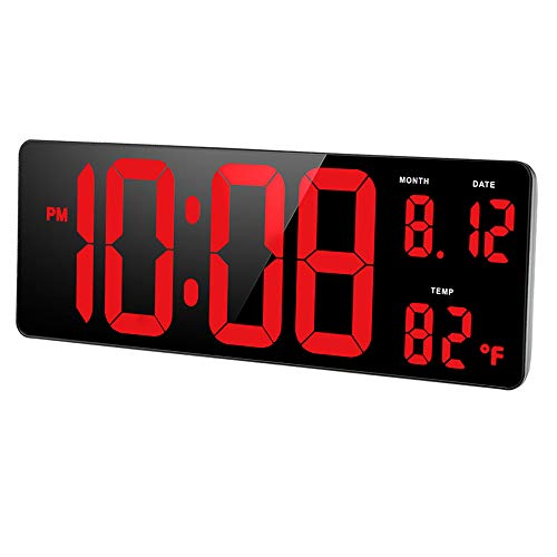 DreamSky 14.5 Extra Large LED Digital Clock with Date and Indoor Temperature Display. Oversize Desk Office Wall Cock with Fold Out Stand, Large Number Display. Auto DST Time Change.