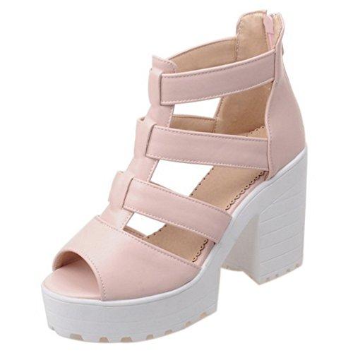 RAZAMAZA Mujer Correa Tobillo Zapatos Plataforma Tacones Sandalias Cremallera Rosado