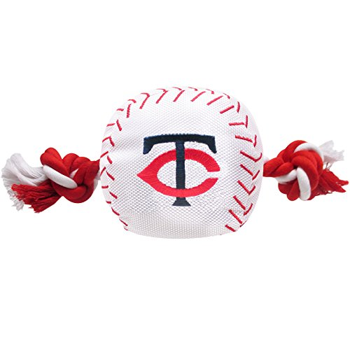MLB MINNESOTA TWINS Baseball Rope Toy for DOGS & CATS. Tough nylon, Sporty Baseball Design, Heavy-duty ropes with Inner SQUEAKER