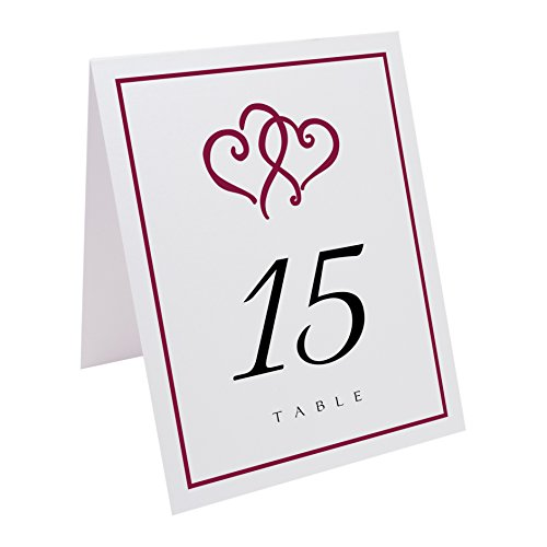 Hearts Linked (Documents and Designs Linked Hearts and Border Table Numbers, Pearl White, Burgundy, 1-10)