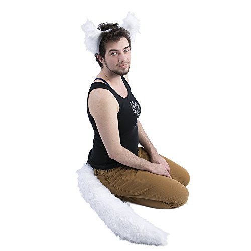 Pawstar Wolf Ear and Tail Costume Furry Combo - White