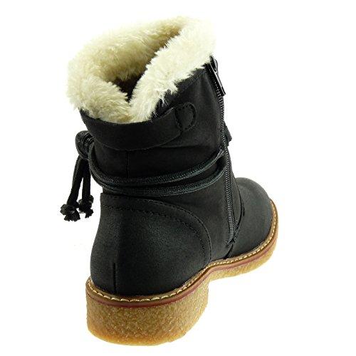 Angkorly Chaussure mode Bottine bottes de neige cavalier Femme fourrure lacets boucle Talon bloc 2.5 CM - Intérieur Fourrée Noir 0ONnVIUPiG