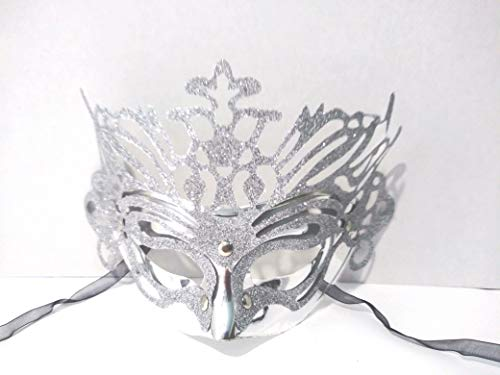Glitter Mardi Gras Mask - Masquerade Mardi Gras Glitter Shiny Silver Party MASK for Costume Balls, Prom, Cosplay Fashion, Weddings, Night Clubs