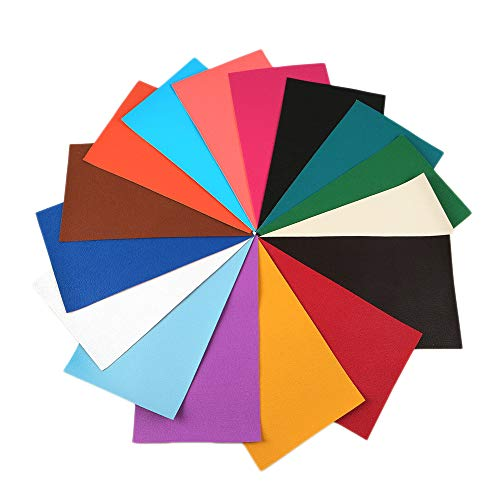 David Angie Litchi Pattern Faux Leather Fabric Sheet 16 PCS 8 x 13 (20 cm x 34 cm) Thick Solid Colors Leather Sheet Perfect for Making DIY Crafts (Small Litchi Grain)