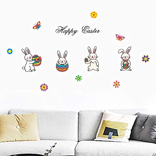 Little Story  Wall Decals, Happy Easter Rabbit Vinyl Decal Art Wall Sticker DIY Home Room -