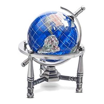 Unique Art 7-Inch Tall Pair of Amberlite Swirl Pearl Ocean Gemstone World Globe