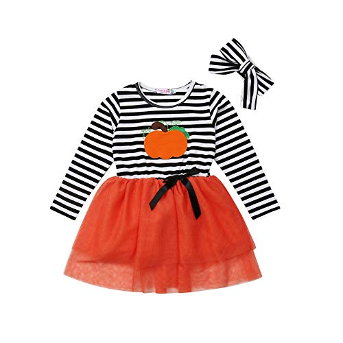 (Toddler Girl Halloween Costumes Long Sleeve Pumpkin Striped Tulle Dress Skirts with Headband Outfits)