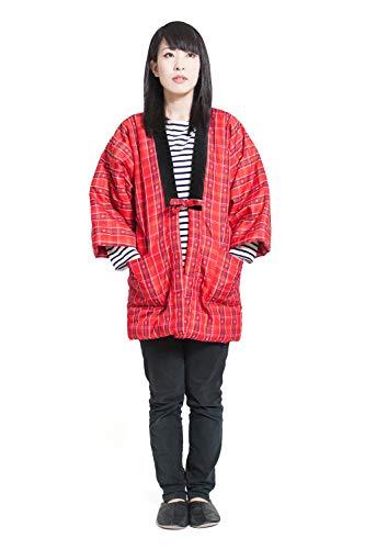 久留米織 はんてん 半纏 レディース 日本製 中綿 袢纏 どてら ちゃんちゃんこ 女性用 フリーサイズ (標準, 二筋格子 赤×黄)