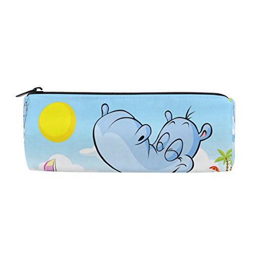 Funnies Desk Kids Sunday (ALAZA Happy Hippo Swim in Sea Pen Pencil Case Bag Purse Pouch Cosmetic Bag Zipper for School Boy Girl Office Work)