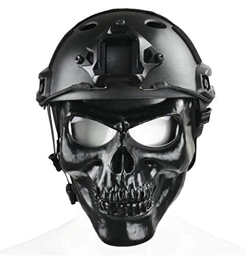 WLXW Mich/Fasthelmet, Masque Complet Skull avec Lunettes et Casque Tactique Rapide/Casque ACH Style Mich 2000 Combiné… 2