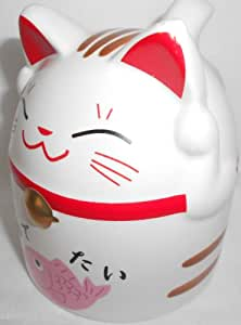 Maneki Neko Lucky Cat Porcelain 10 oz Teacup - Pink
