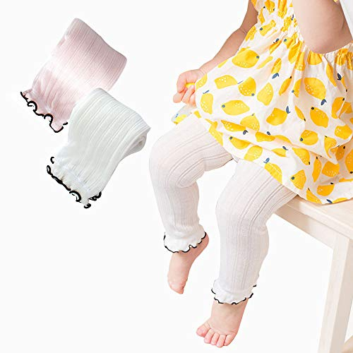 BBKidss Toddler Girls Summer Ruffle Tights Footless Leggings Pantyhose Cable Ribbed Stocking Pants 2 Pack White,Pink -