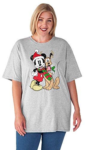 Disney Womens Plus Size Mickey Mouse & Pluto T-Shirt Christmas Print (2XL)