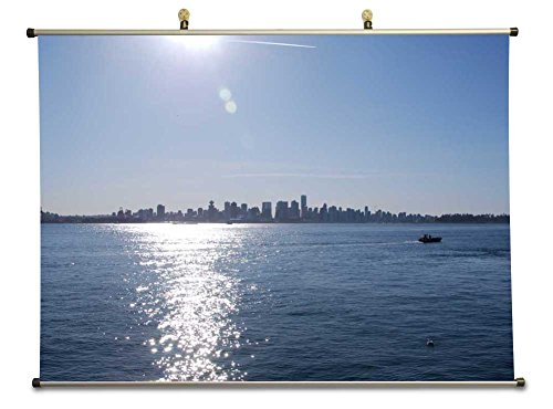 Downtown Vancouver from Londsdale Quay - Canvas Wall Scroll Poster (50x70 cm)