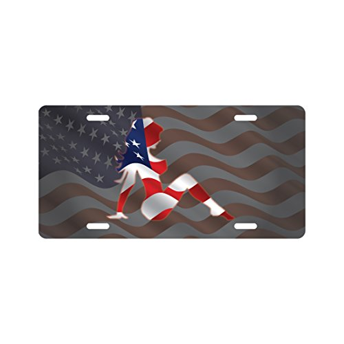 American Flag Mud Flap (Mud Flap Girl License Plate American Flag Novelty Tag)