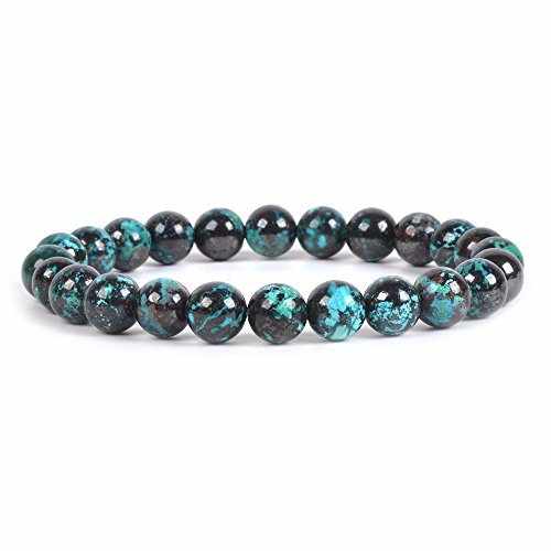 Natural Chrysocolla Gemstone 8mm Round Beads Stretch Bracelet 7