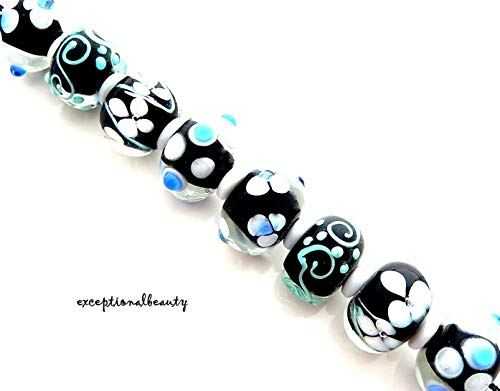 8 Assorted White Black Blue Green Lampwork Bumpy Smooth Rondelle Art Glass Beads