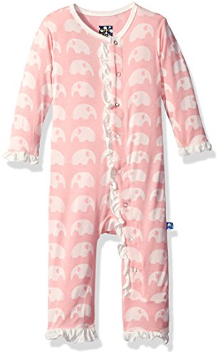KicKee Pants Essentials Girls Ruffle Coverall - Lotus Elephant, 3-6 Months - Kickee Pants Coveralls