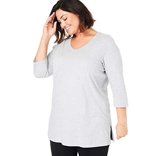 Woman Within Women's Plus Size Perfect V-Neck Three-Quarter Sleeve Tunic - Heather Grey, -