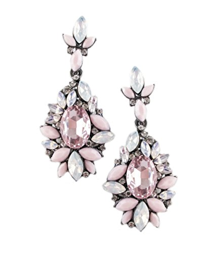 Silver Tone Antique Vintage Retro Style Pink Rhinestone Dangle Cluster Earrings