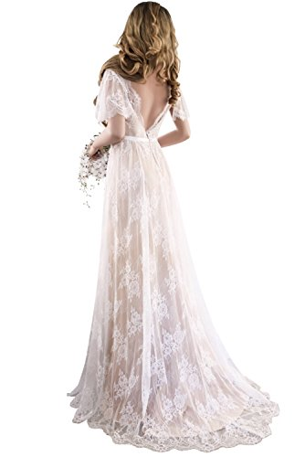 fd759b940337 Home/Brands/XJLY Dresses/XJLY Elegant V-Neck Boho Champagne Lace Beach  Wedding Dresses Country Style Bridal Gown. ; 