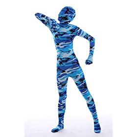 - 41GUoi37JjL - Nedal Halloween Costumes For Women Camouflage Zentai Lycra Spandex Bodysuit Navy