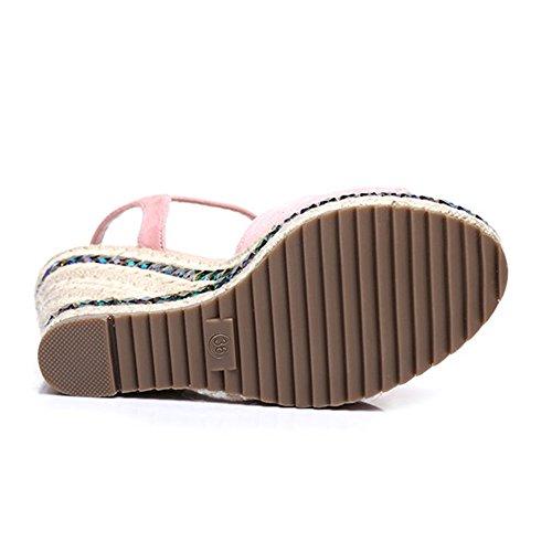 10 Knot Blu Sandali 5 Sandali Rosa da 5CM spesso scarpe spiaggia Colore Strass Platform Bohemia CN37 fondo Butterfly 5 UK4 impermeabili donna tessuto ZHIRONG da EU37 estivi dimensioni fzcwqRRT