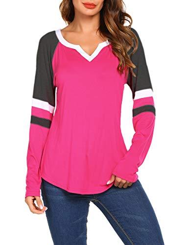 (Sweetnight Baseball T-Shirts Long Sleeve Raglan Blouse Tops for Women)