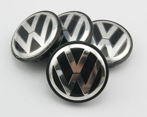 Angel Mall Volkswagen 56mm Outer Diameter Black Wheel Center Hub Caps Cover 4-pc Set