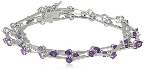 Rhodium Sterling Amethyst Brazilian Bracelet