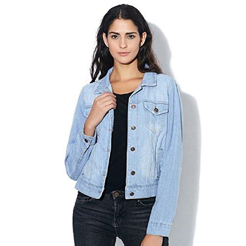 [Spring Winter Short Denim Jackets Vintage Casual Coat Autumn Denim Jacket For Women Jeans Plus Size 4XL Z6 light blue 4XL] (Yellow Lab Coat Costume)
