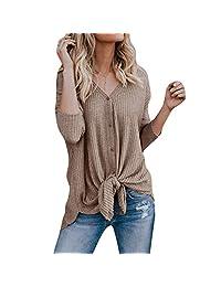 1856cd6047 Eachbid Blusa Suelta para Mujer de Manga Larga con Cuello en v Abajo del  botón Camisetas