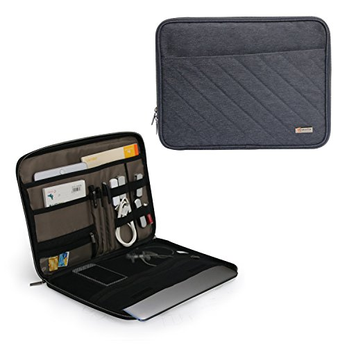 Q-Smile 11-12 Inch Laptop Tablet Sleeve Case Electronics Organizer Sleeve Travel Gadget Bag for Cables Cord Water-Proof Electronics Accessories Storage Bag Cover for iPad, Cell Phone, Tablet, ()