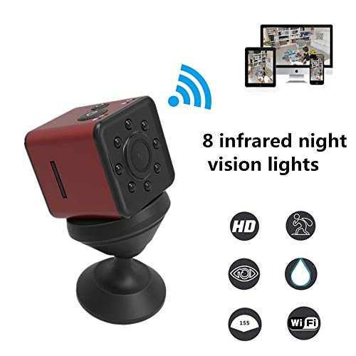 Mini Camera WiFi SQ13, WiFi Camera,Mini Camera, Mini cam 1080P HD Video Camera with IR Night Vision Motion Detection SQ11 SQ12 Upgrade HD Camcorder Small Camera,Sports Mini DV Video Recorde(Red)