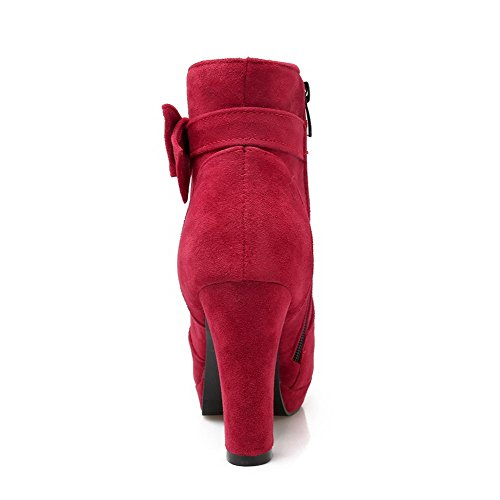 AllhqFashion Damen Reißverschluss Rund Zehe Hoher Absatz Mattglasbirne Rein Stiefel Rot