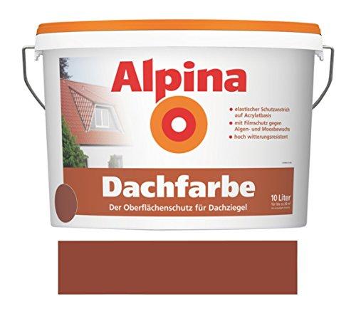 Alpina 10 L. Dachfarbe, Oberflächenschutz für Dachziegel, Rotbraun Glänzend