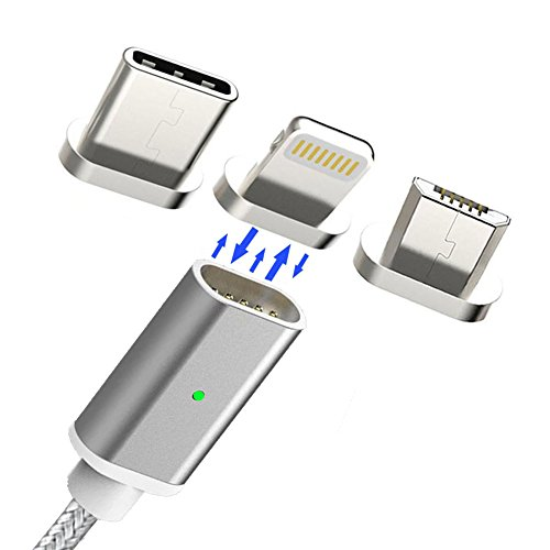AUCON Magnetic Lightning Micro Type C Usb Cable for Android Iphone, Magnet Charging Adapter for Samsung S6 Sony, Silver