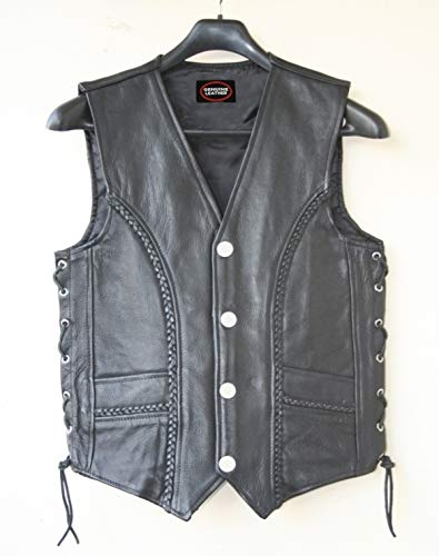 Men's Black Leather Braided Side Laces Motorcycle Biker Vest New All Sizes LLL-148 (XXXX-LARGE)
