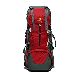 X-Freedom 65L+5L Outdoor Sport Water-resistant Internal Frame Backpack Hiking Backpack Trekking Bag with Rain Cover for Climbing,camping,hiking,Travel (Red)