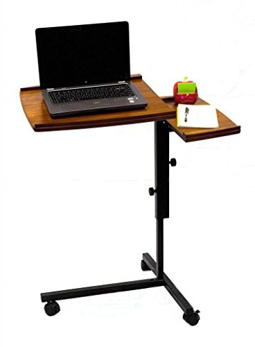 Adjustable Height Rolling Laptop Notebook Writing Desk Table Oak ()