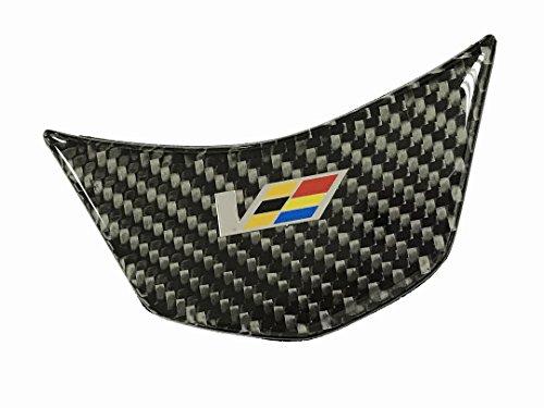 Dian Bin- Black V Steering Wheel Carbon Fiber CFRP Sticker Vehicle-Logo Emblem Badge for ATSL ATS-L Cadillac Available