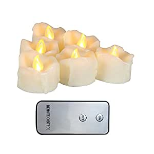 "Realistic Flickering Flameless Candle Battery Operated Votives Candles with Remote, Long Battery Life, Battery Included, 1.5""x1.5"" with Drips Set of 6 PCS"