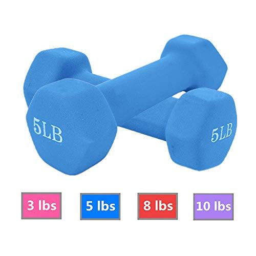 Fat.chot Neoprene Dumbbell 1 Pairs,Fitness 3-10 LBS Weight Options Non-Slip,Hexagon Shape,LBS-Non-SLI,Easy to Read Hand…