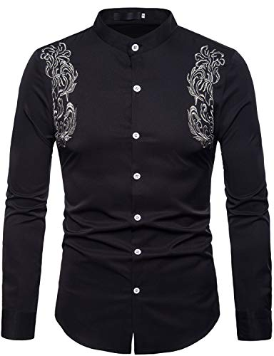 ZEROYAA Mens Hipster Floral Embroidery Slim Fit Long Sleeve Mandarin Collar Shirts ZHCL09 Black Large