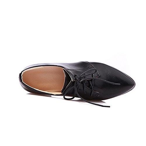 Allhqfashion Dames Solide Kitten Hakken Veters Puntige Dichte Teen Pumps-schoenen Zwart